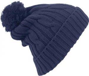Bonnet customisé avec pompon bleu marine