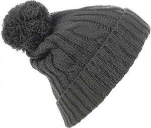 Bonnet customisé avec pompon gris