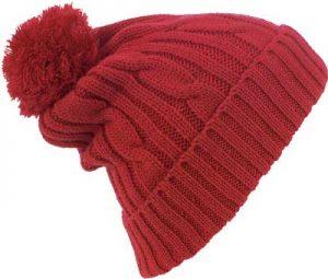 Bonnet customisé avec pompon rouge